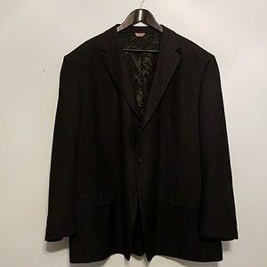 Luca Rossi EUC sz 52R black suit coat w/pin stripe